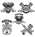 set of motorcycle repair emblems motor tools vector image vector image