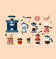 set various coffee machines and tools vector image vector image