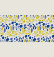sketch decorative blue flowers seamless pattern vector image vector image