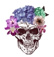 Skull And Flowers Sketch With gradation Effect vector image vector image