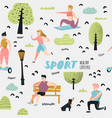 summer outdoor sports activities seamless pattern vector image