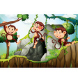 Three monkeys hanging on the branch vector image vector image