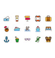 tourism vacations travel related icons set vector image vector image