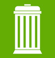trash can icon green vector image vector image