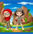 two girls hiking up the mountain vector image vector image