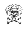 vintage monochrome pirate skull vector image vector image