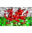 welsh flag made of hearts background vector image