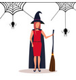 woman wearing witch costume happy halloween vector image