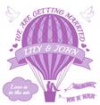 ballohot air balloon wedding invitation vector image