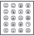 set of black line cartoon emoji face icons vector image