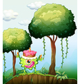 A monster carrying a cake in the forest vector image vector image