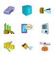 auction sale icons set cartoon style vector image vector image