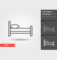 bed line icon with editable stroke with shadow vector image vector image