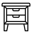 bedside table icon outline style vector image vector image