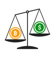 bitcoin vs dollar concept with balance vector image vector image
