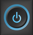 black plastic power button with blue light vector image