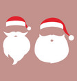 cap and mustache with a beard of santa claus on a vector image vector image