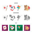 children toy cartoonflatmonochrome icons in set vector image vector image