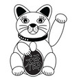 Chinese style cat with good luck sign vector image