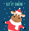 christmas card with cute cow vector image vector image