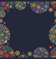 christmas frame colorful snowflakes in round vector image vector image