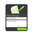 Dark contact form with light paper and green vector image vector image