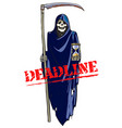 deadline concept cartoon death with scythe and vector image vector image