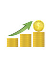 dollar coins with green arrow vector image vector image