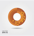 donut with chocolate glaze flat icon vector image