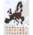 European Union Map with flags vector image vector image