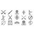 fencing icons set outline style vector image vector image