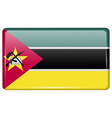 Flags Mozambique in the form of a magnet on vector image vector image