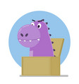funny purple dinosaur jumped out of the box vector image vector image