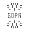 gdpr circuit thin line icon personal and privacy vector image vector image