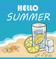 glass water with slice lemons vector image