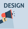 hand holding megaphone with design announcement vector image