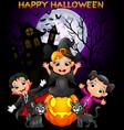 happy halloween purple background with children in vector image