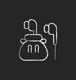headphones chalk white icon on dark background vector image