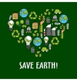 Heart shaped organic ecology icons vector image