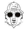 hipster wolf cool sketch vector image vector image