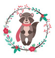 jolly raccoon with floral frame vector image vector image