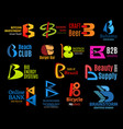 letter b business identity icons vector image vector image