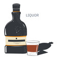 liquor sweet alcoholic beverage bottle and shot vector image