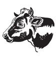 monochrome contour portrait bull vector image vector image
