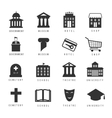 Municipal houses and icons Town government signs vector image
