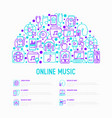 online music concept in half circle vector image vector image