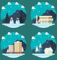 pack flat design winter scenes vector image vector image