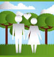 parents together in the park family protection vector image