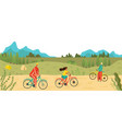 people riding bicycles in park outdoors sport vector image vector image