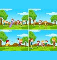 playground scenes with kids playing sports vector image vector image